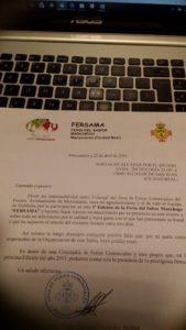 carta agradecimiento FERSAMA a www.tortasdealcazarporelmundo.es